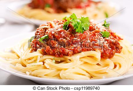 Stock Photo of plate of spaghetti bolognese.