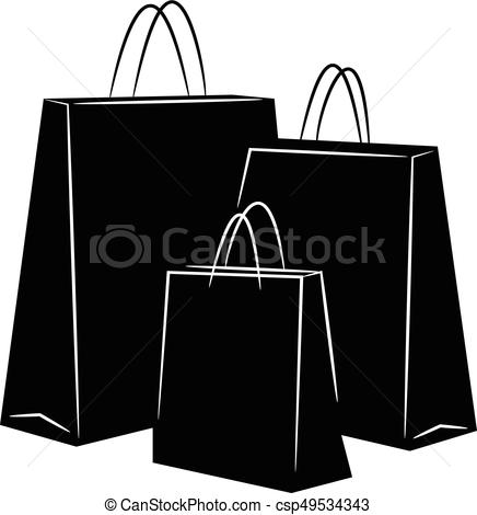 Grocery Bags Clipart Black And White.