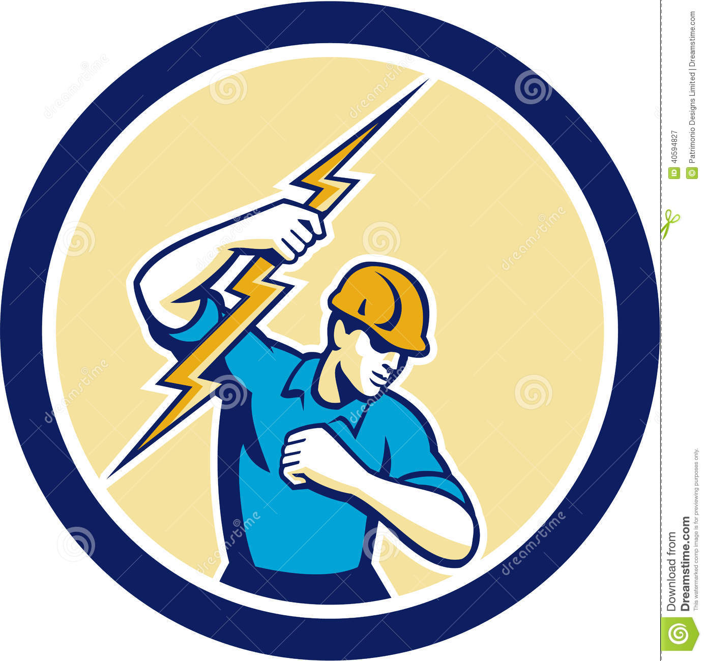Electrician Holding Lightning Bolt Side Circle Stock Vector.