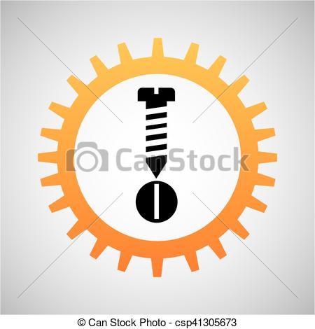 Vectors Illustration of construction gear icon screw bolt vector.