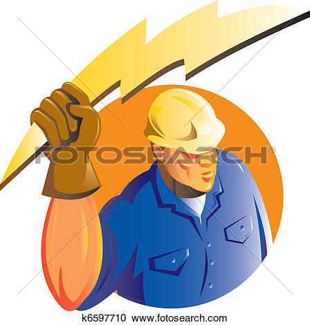 Stock Illustrations of Construction worker electrician lightning.