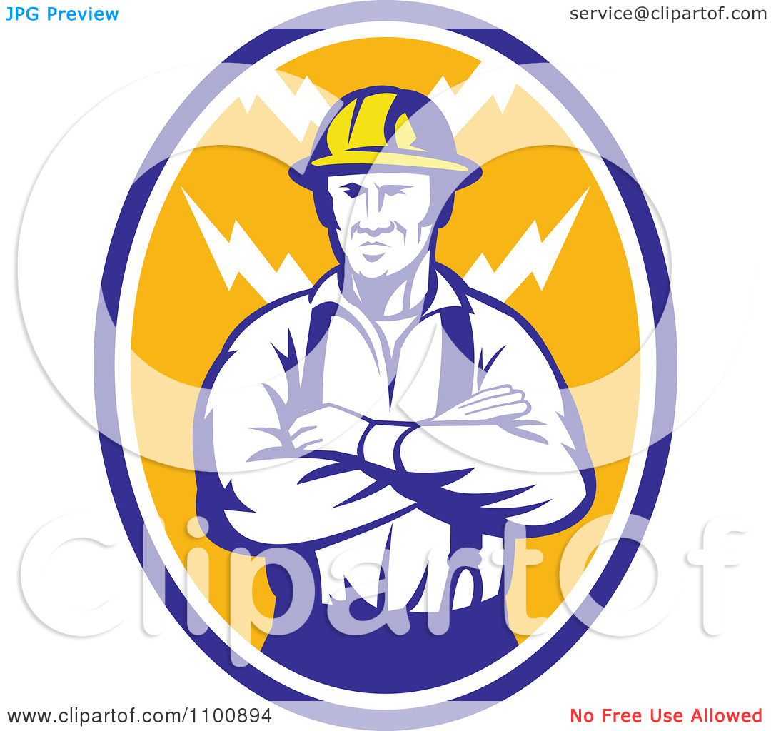 Clipart Retro Electrician Or Construction Worker With Folded Arms.