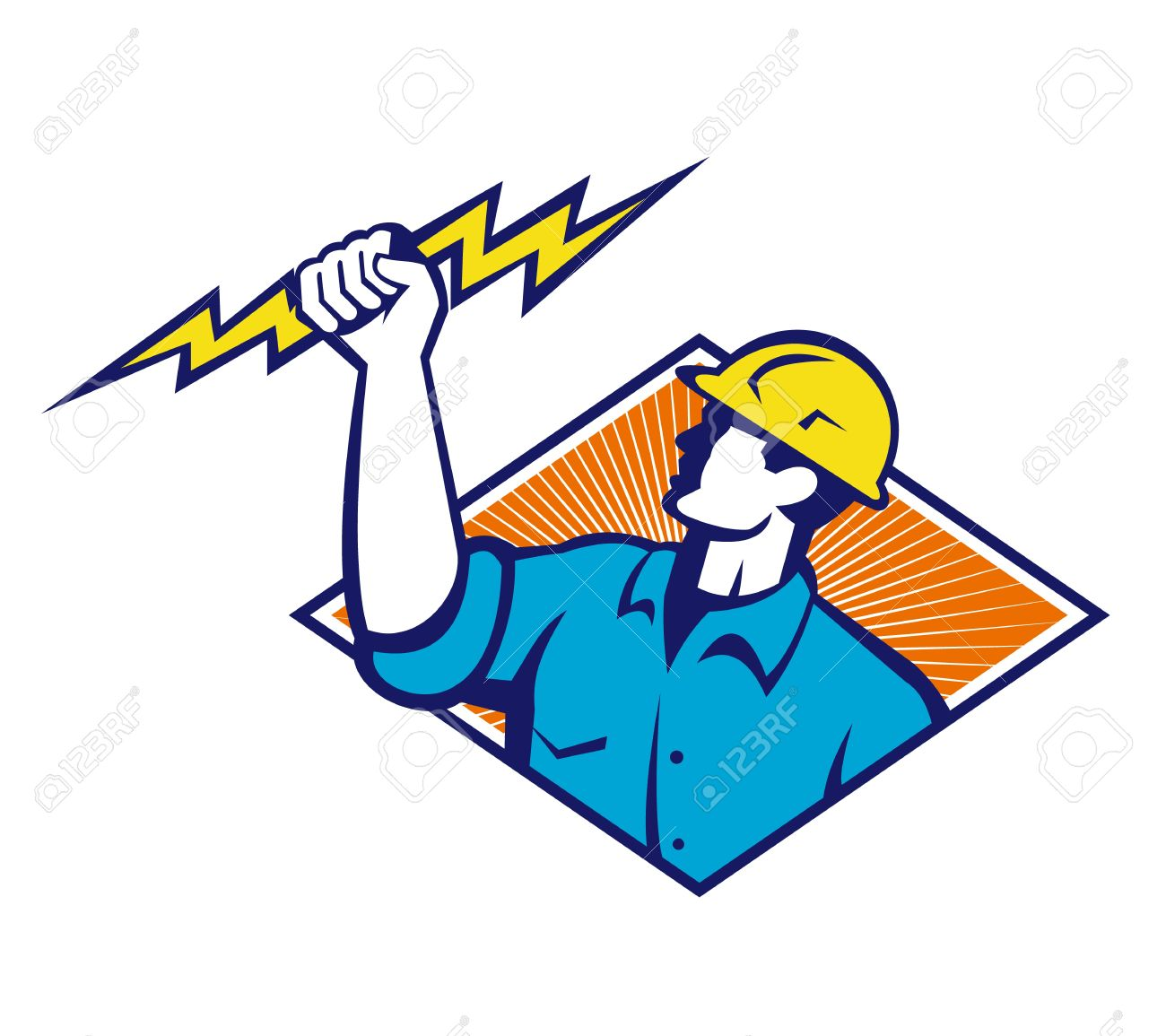 Illustration Of An Electrician Construction Worker Holding A.