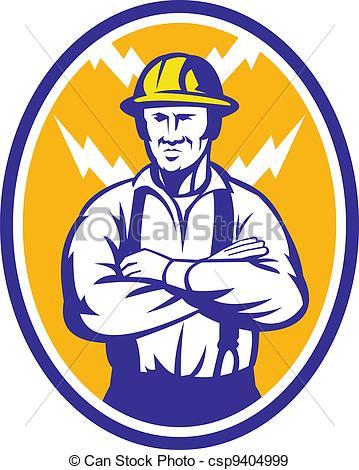 EPS Vectors of Electrician Construction Worker Lightning Bolt.