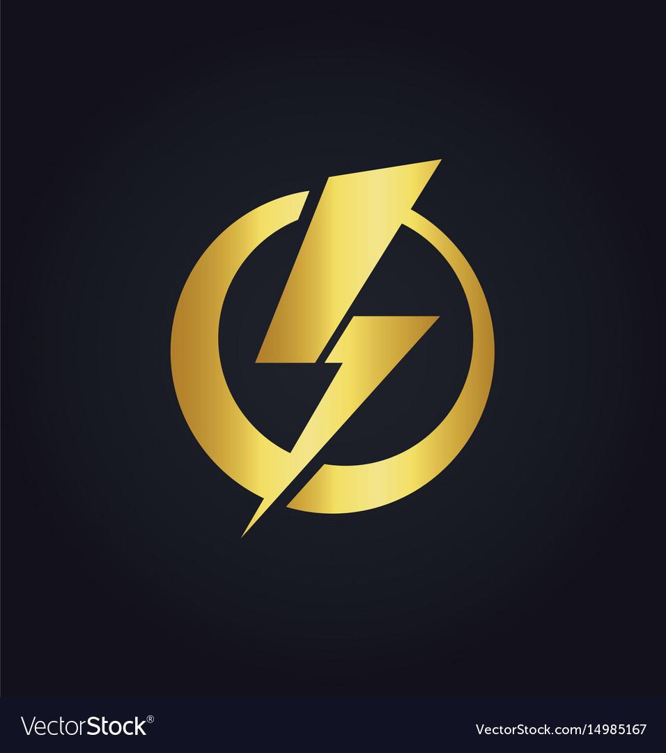 Light bolt electric gold logo.