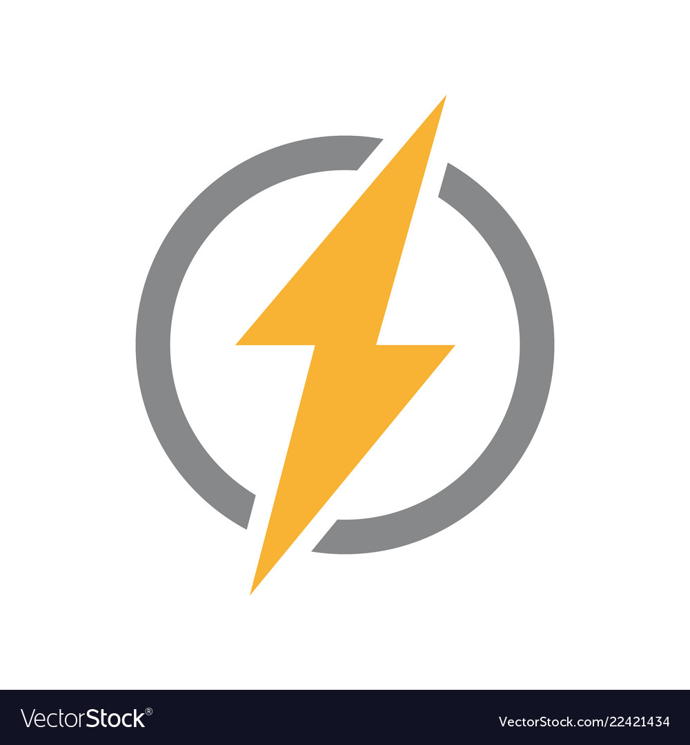 Lightning bolt with circle logo unique.