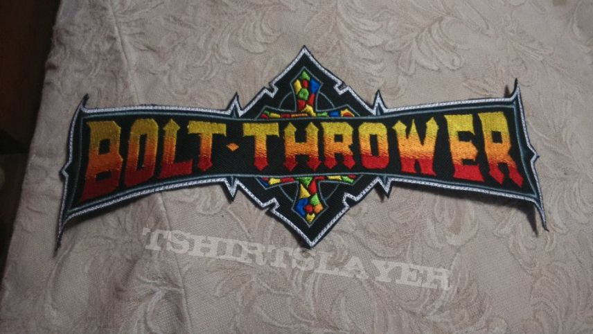 Bolt Thrower back shaped logo patch t.