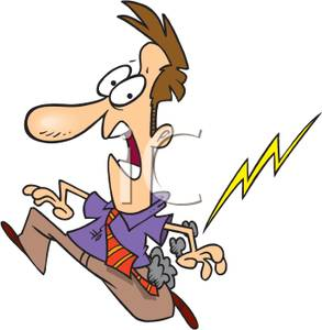 Colorful Cartoon of a Man Getting Struck By Lightening.