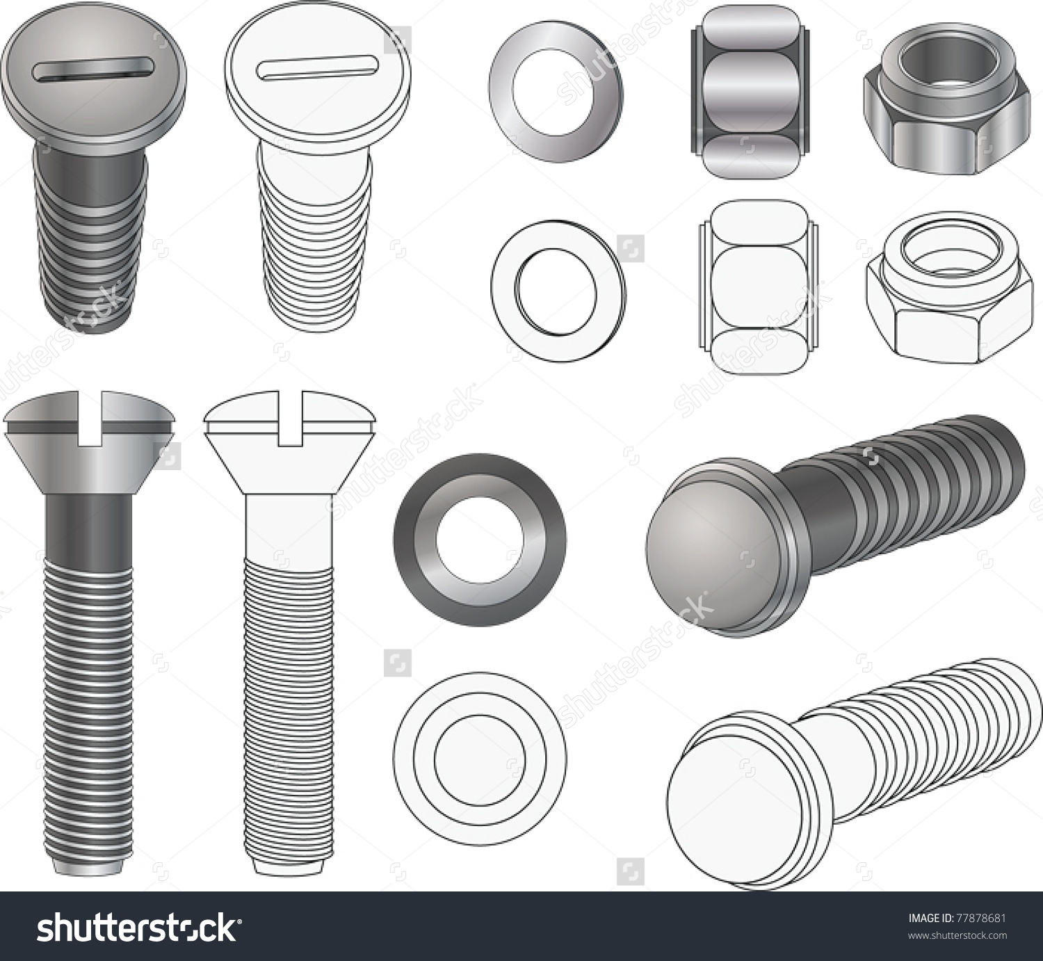 Complete Set Bolts Nuts Clipart Stock Vector 77878681.