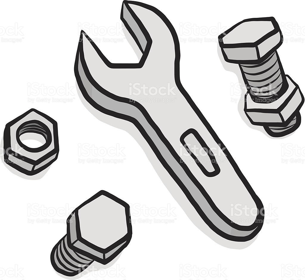 Nuts Bolts And Wrench Cartoon stock vector art 451591623.