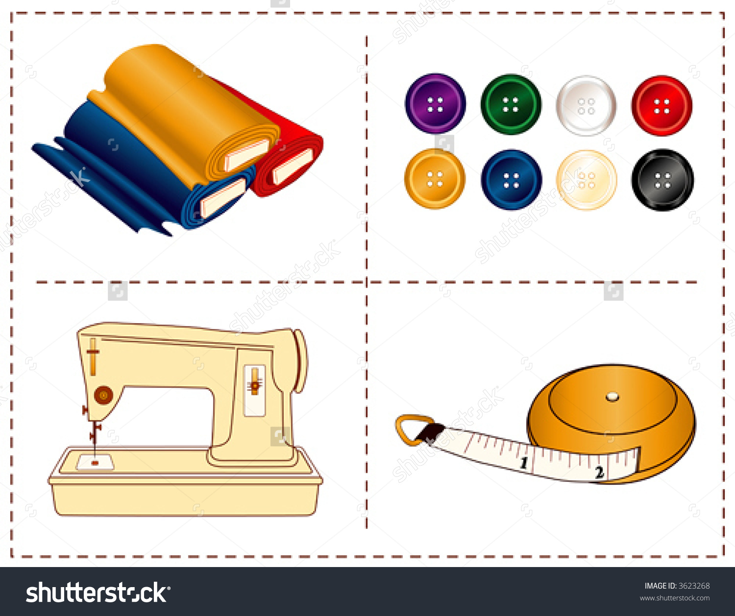 Sewing Tools Machine Tape Measure Bolts Stock Vector 3623268.