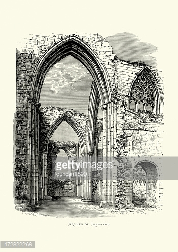 Bolton Abbey, Yorkshire, England Arches of Transept premium.