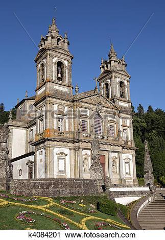 Stock Photography of Bom Jesus do Monte Church in Braga, Portugal.
