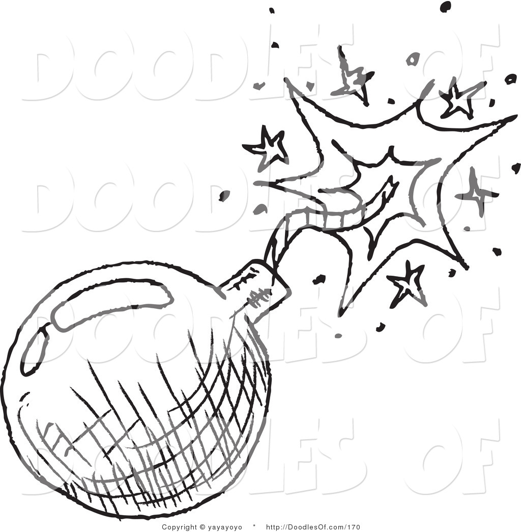 Vector Clipart of a Black and White Bomb Doodle Sketch on.