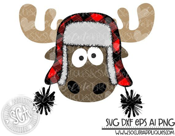 Christmas svg design, Christmas moose with plaid bomber hat clipart.