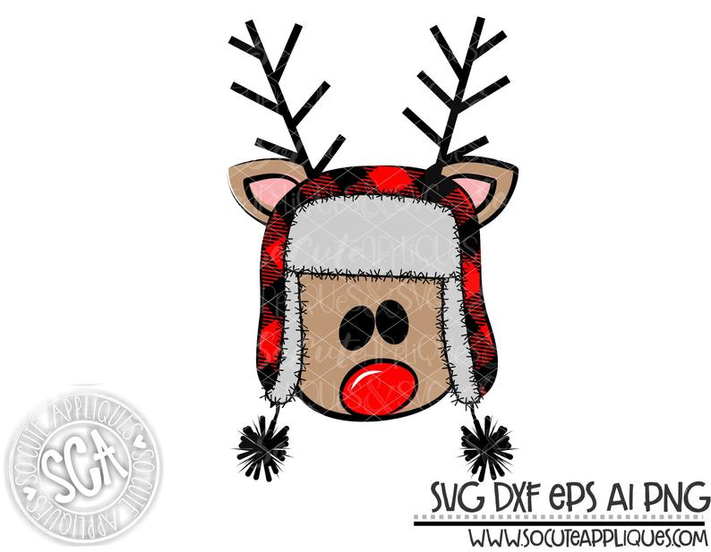 Reindeer SVG file, reindeer with bomber hat clipart, SoCuteAppliques, SVG  EPS Dxf and Png formats. Great for Christmas monogram crafts.