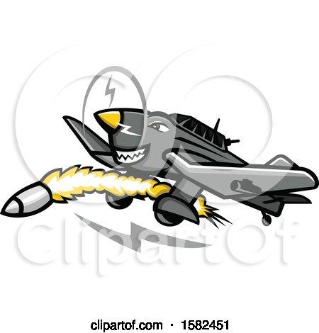 Clipart of a Junkers Ju 87 Stuka German Dive Bomber Plane Mascot.