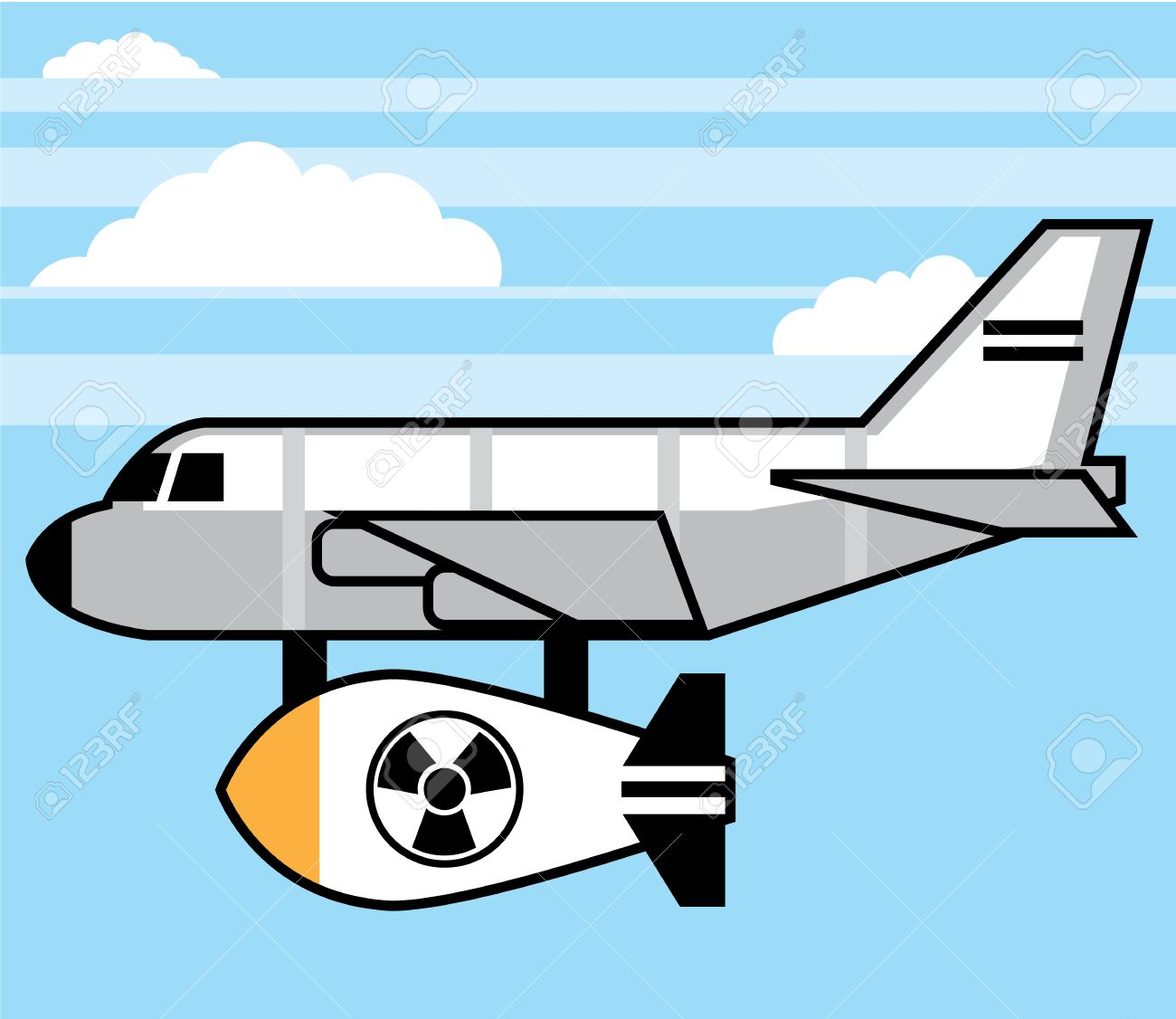 Plane cartoon bomber with a bomb vector illustration.