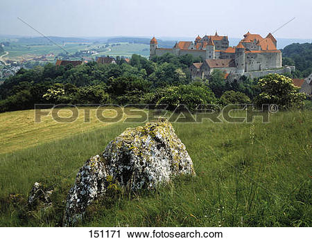 Stock Photography of Rock on landscape with castle in background.