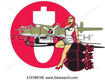 Clip Art of B29 WW2 Bomber Woman and bombs k15189148.