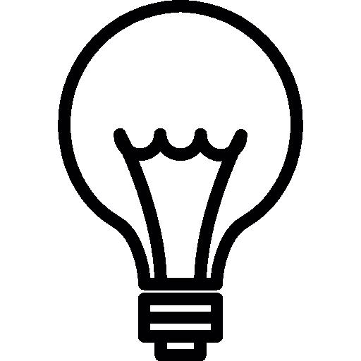 Idea. bombilla línea delgada, ios símbolo interfaz 7.