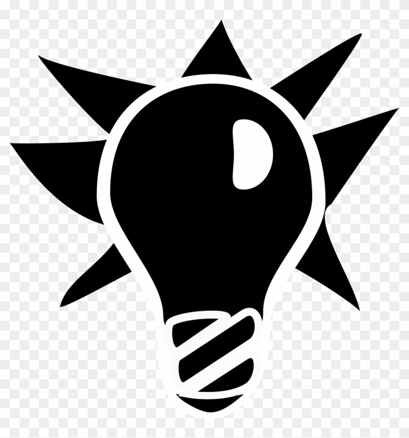 Lightbulb Black White Idea Png Image.