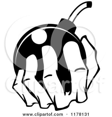 bombing clipart 1160081 Cartoon Clipart Of A Black And White Bomb.