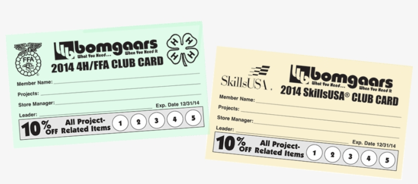 Bomgaars 4h/ffa And Skillsusa Club Cards Banner.