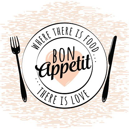 Food related kitchen typography quote. Bon Appetit. Vintage.