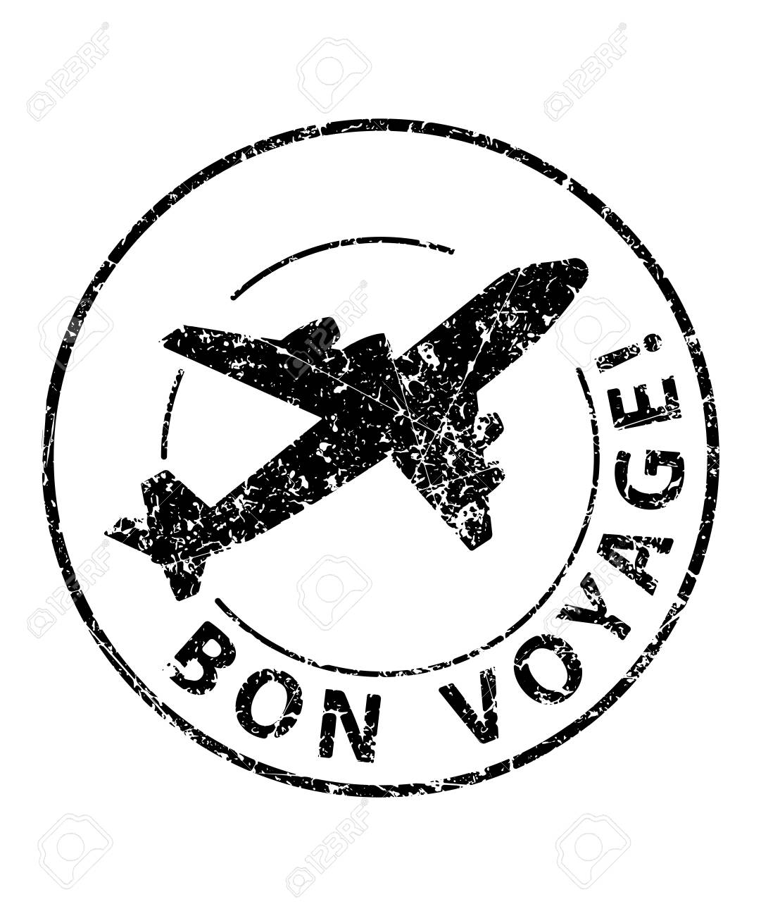 Bon voyage black rubber stamp with silhouette of airplane.