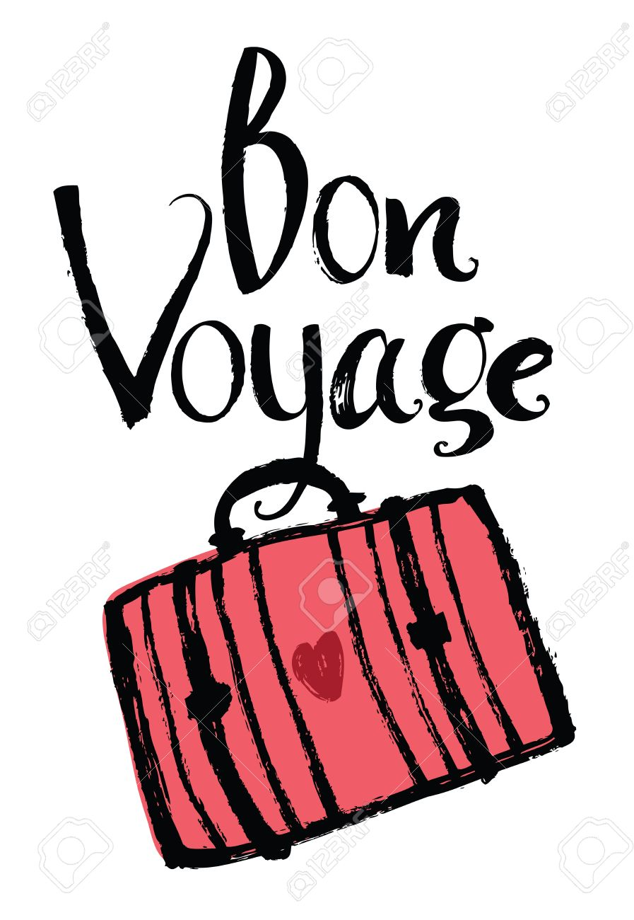 Bon Voyage Design card with suitcase.