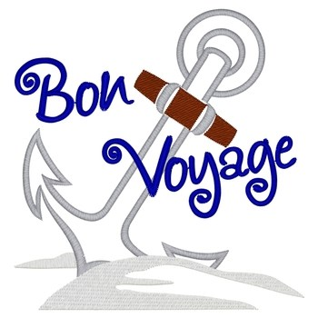 Bon Voyage Embroidery Design.