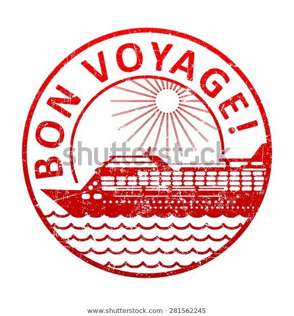 Bon Voyage Rubber Stamp Silhouette Cruise Stock Vector (Royalty Free.