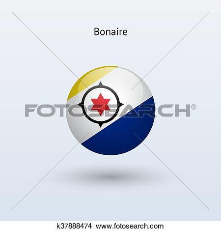Clipart of Bonaire round flag. Vector illustration. k37888474.