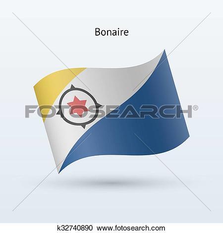 Clipart of Bonaire flag waving form. Vector illustration.