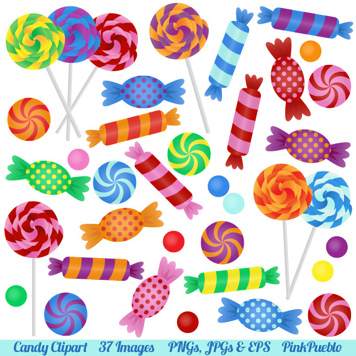 Candy Clipart Clip Art with Lollipops, Peppermints, Hard Candy and.