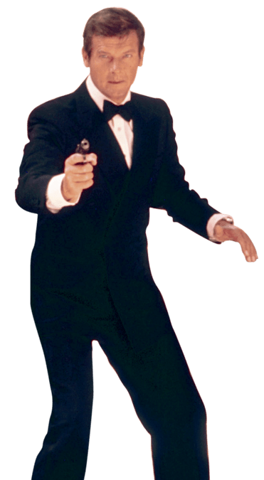 Roger Moore James Bond Front transparent PNG.