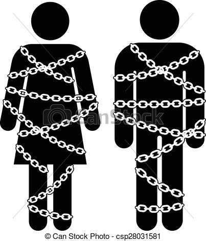 Vector of man and woman with chains not talking to each other.
