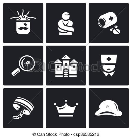 Vector Clip Art of Vector Set of Nuthouse Icons. Diagnosis.