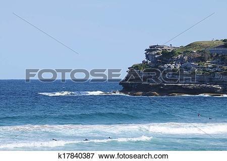 Picture of Blue sea in a sunny day at Bondi Beach Sydney Australia.