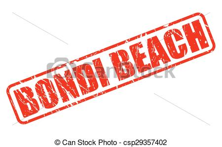 Vector Clipart of Bondi beach red stamp text on white csp29357402.
