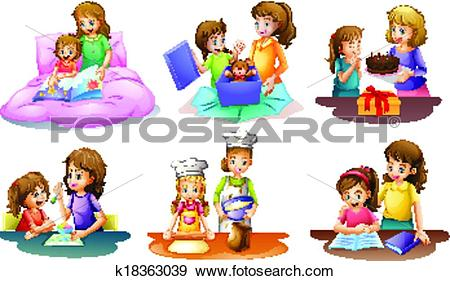 Clip Art of A mother and daughter bonding moments k18363039.