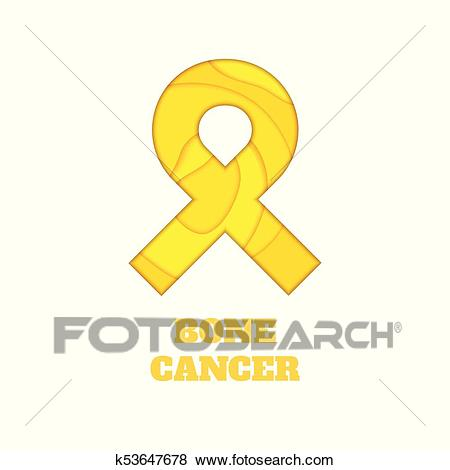 Bone cancer awareness papercut ribbon Clip Art.