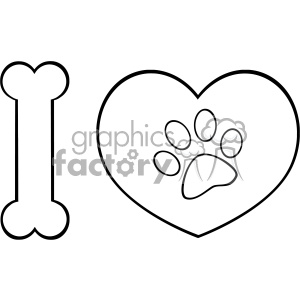 10714 Royalty Free RF Clipart Black And White I Love Animals With Bone And  Heart With Paw Print Logo Design Vector Illustration clipart. Royalty.
