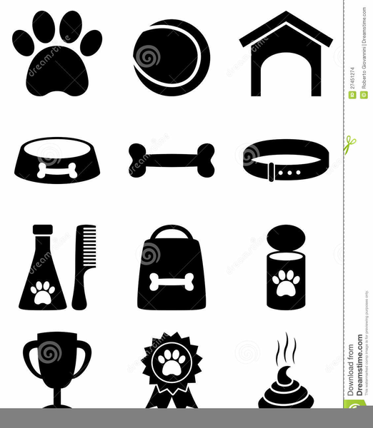 Black White Dog Bone Clipart.