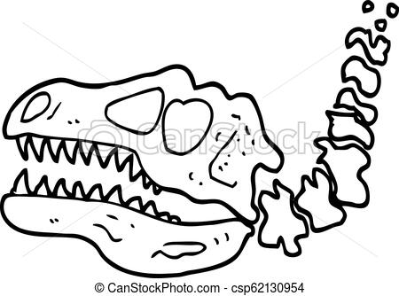 black and white cartoon dinosaur bones.