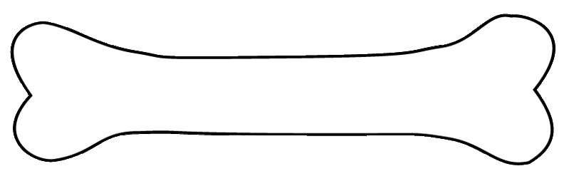 Bone clipart sketch outline, lge 14 cm long.
