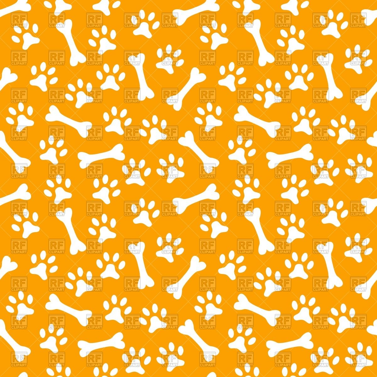 Seamless pattern with dog's paw print and bone Vector Image #40426.