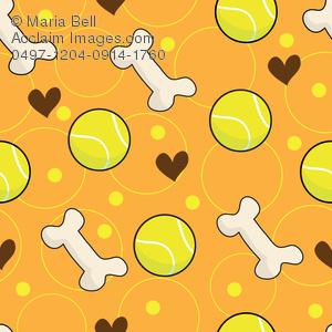 Ball and Dog Bone Seamless Background Pattern Clip Art.