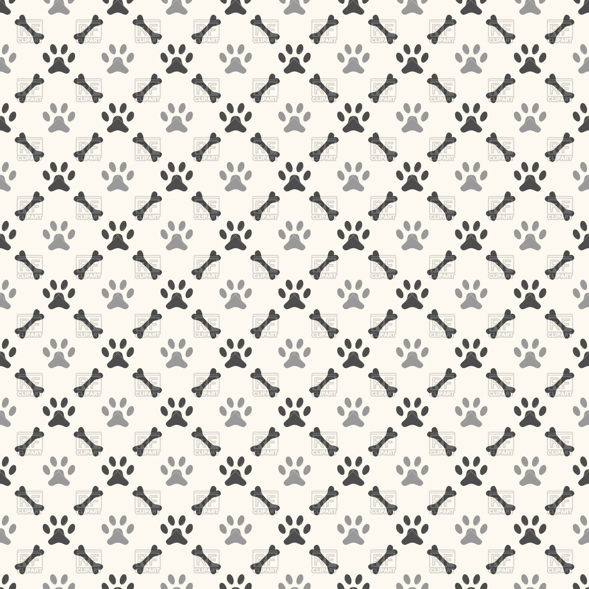 Seamless pattern with paw print and bone Vector Image #40893.